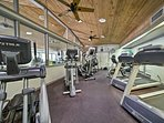 Keep up with your workouts in the fitness center.