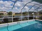 Morning view of pool overlooking lake