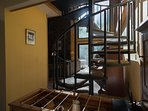 Lucky's Mountain Chalet-Spiral Staircase to top floor master bedroom