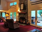 Riverview Retreat-Large great room with stone firplace