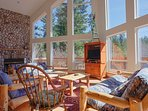 Wy'east  View Chalet-Great room with ceiling to floor windows
