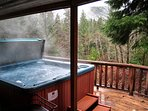Riverview Retreat-Hot Tub on deck with view of the Sandy River below