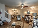 Boasting coastal decor, this home is warm and inviting.