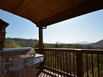 Grill outdoors on the gas grill and enjoy the beautiful scenery.