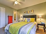 The master bedroom hosts a sumptuous king-sized bed.