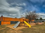 Kids can play at the on-site jungle gym located just across the street.