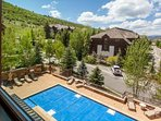 Enjoy the year round heated pool and hot tub.