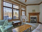 This sun room offers a gas fireplace.