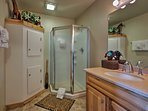 You'll find a walk-in shower in the sizable en-suite bathroom.