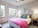 Master bedroom with queen size platform bed.
