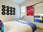 Bedroom has fun musically-inspired art.