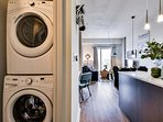 New stacking washer and dryer included.