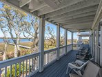 Main floor back deck with expansive views of intracoastal waterway.