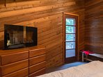 Knotty Pine-Upstairs queen room with electric fireplace