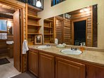 Knotty Pine-Upstairs double sink vanity and full bath