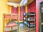 The Gryffindor room boasts a triple twin bunk and twin-over-twin.