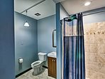 You'll find a walk-in shower in this full bathroom.