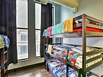 Another triple bunk bed set and twin-over-twin are provided.