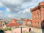 view from the balcony to oldest running church in istanbul, Greek high school, golden horn