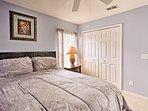 Restful slumbers await in this queen bed.