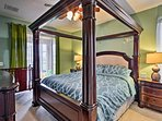 You'll love the master bedroom with a king bed and a crib.