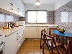 New fully equipped and electrical kitchen including dishwasher, microwave and table where 4 can seat