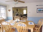 Dining area opens to Living room- 17 Woodbine Road Harwich Port Cape Cod New England Vacation Rentals