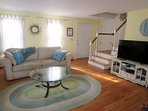 Living area with flat screen TV- 17 Woodbine Road Harwich Port Cape Cod New England Vacation Rentals