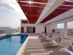 The sizeable roof top pool