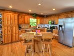 Fully equipped kitchen with stainless appliances, service for 10 & everything a gourmet chef needs