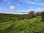 Spectacular view at the back of the house, lots of open countryside for walking.