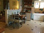 Kitchen with extendable table and chairs.