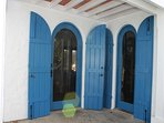 New, custom designed and built mahogany/glass entry doors