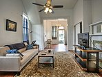 This home boasts high ceilings and ornate woodwork.
