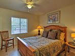 You'll be ushered to sleep by this queen bed.