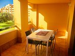 Balcony terrace with table & chairs comfortably seating 6