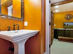 A 3/4 bathroom is located in the lower level den for your convenience.