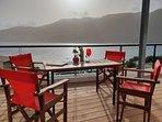 Villa Vass Seafront terrace view on Vasiliki bay