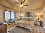 Sleep soundly upon the king bed in the master bedroom.
