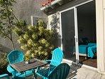 The spacious patio