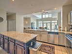 Ample counter space and modern appliances make home-cooking a breeze.