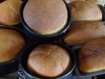 Home made white and granary bread, fresh from the oven, to your table made by your hostess.