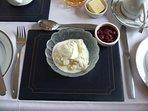 Enjoy home made yogurt and berries, a healthy start your breakfast at Cnoc Beag Littlehill Farm.