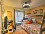 Kids love the bunk room with a twin-over-full bunk bed.