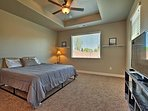 Two lucky travelers can claim this spacious king master suite.