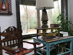 The house is furnished with antique Spanish and Guatemalan chairs and tables.