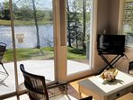 Breathtaking lake and mountain views from the living room and dining area whith  TV WIFI and Netflix