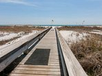 Private boardwalk leading to beach and Gulf
