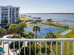 View of pool, tennis courts, docks and Little Lagoon