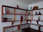 Custom built in shelving in dining room